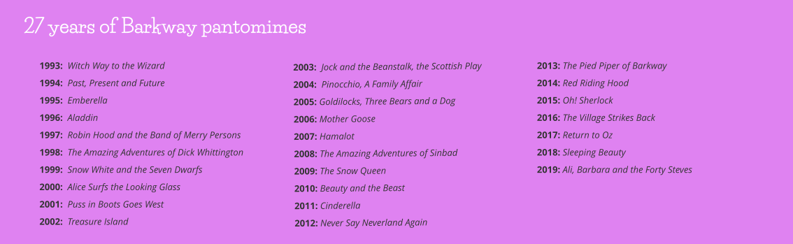 2003:  Jock and the Beanstalk, the Scottish Play 2004:  Pinocchio, A Family Affair 2005: Goldilocks, Three Bears and a Dog      2006: Mother Goose         2007: Hamalot    2008: The Amazing Adventures of Sinbad 2009: The Snow Queen 2010: Beauty and the Beast 2011: Cinderella 2012: Never Say Neverland Again 2013: The Pied Piper of Barkway 2014: Red Riding Hood 2015: Oh! Sherlock 2016: The Village Strikes Back 2017: Return to Oz 2018: Sleeping Beauty 2019: Ali, Barbara and the Forty Steves   1993:  Witch Way to the Wizard 1994:  Past, Present and Future 1995:  Emberella 1996:  Aladdin 1997:  Robin Hood and the Band of Merry Persons 1998:  The Amazing Adventures of Dick Whittington 1999:  Snow White and the Seven Dwarfs 2000:  Alice Surfs the Looking Glass 2001:  Puss in Boots Goes West 2002:  Treasure Island 27 years of Barkway pantomimes